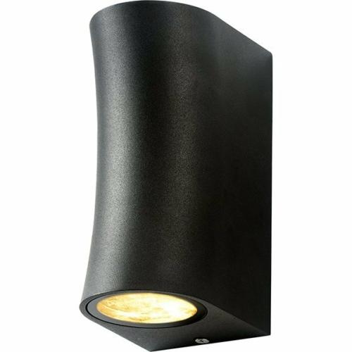 Optonica LED kültéri fali lámpa, IP44, fekete, 2xGU10