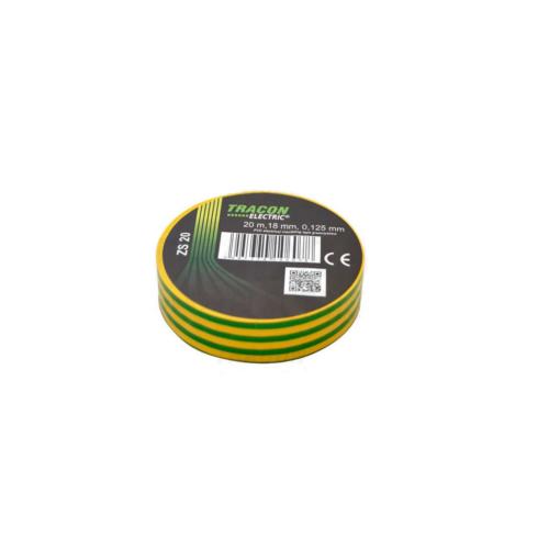 Tracon szigetelőszalag, 20m x 18mm, zöld-sárga